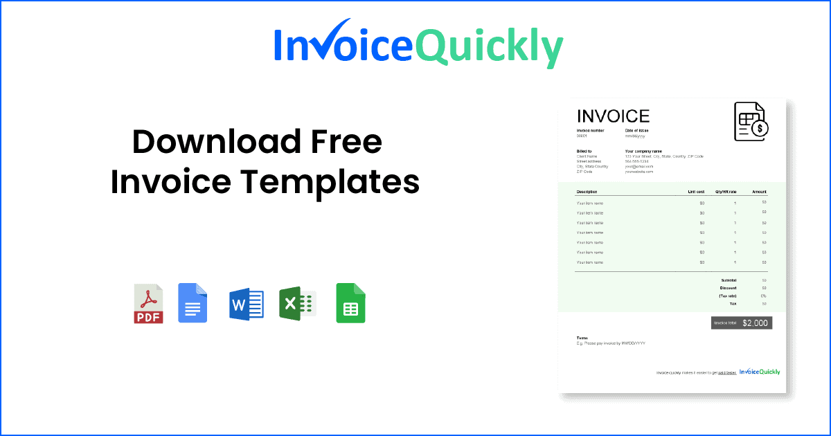 Downloadable Invoice Template Word from invoicequickly.com