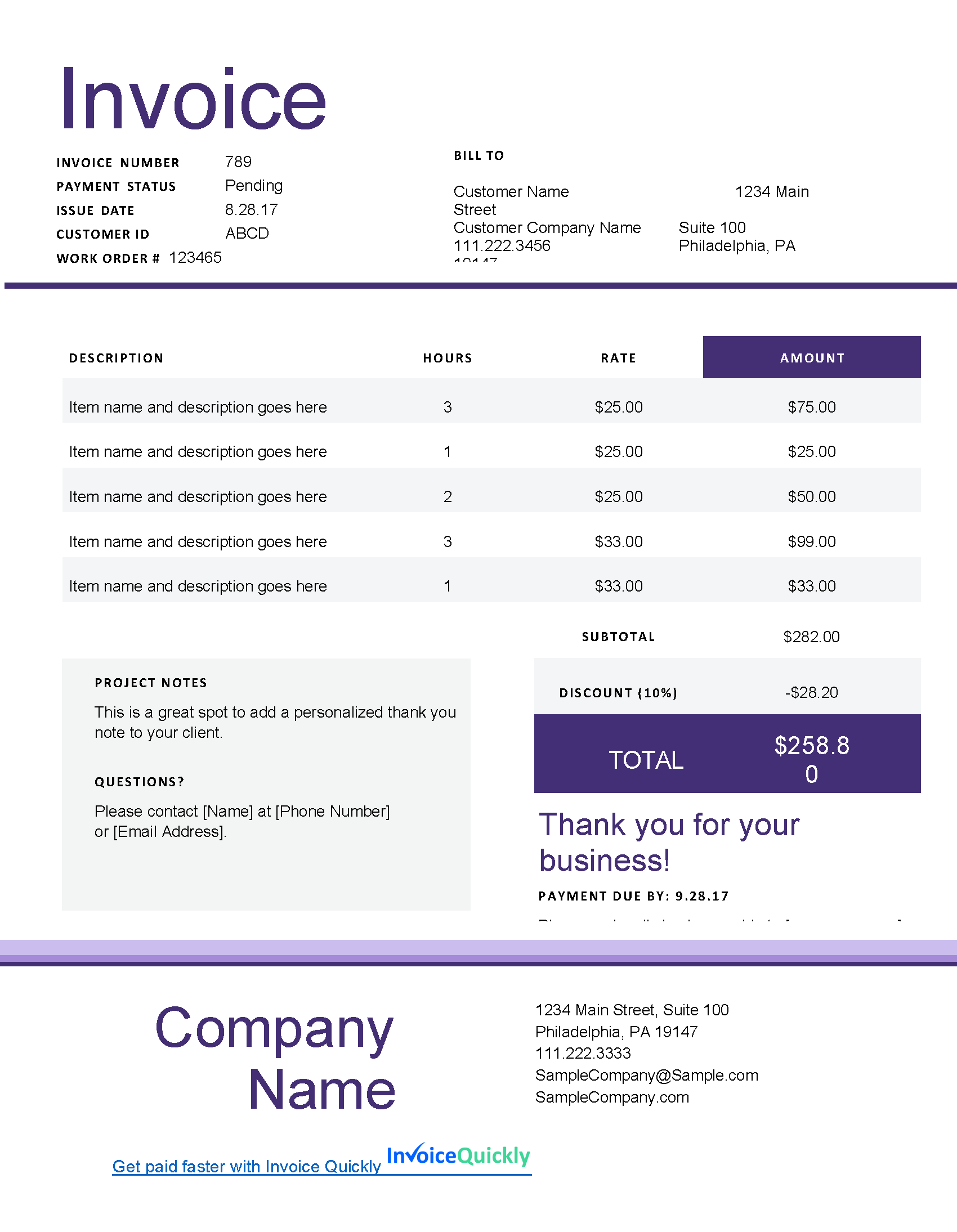 Microsoft Word Invoice Template Download For Your Needs